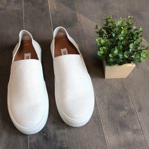 Steve Madden Fayna White Leather Slip On Sneakers